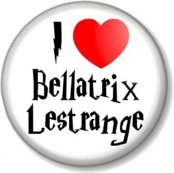 I Love / Heart Bellatrix Lestrange Pinback Button Badge Harry Potter JK Rowling Helena Bonham Carter